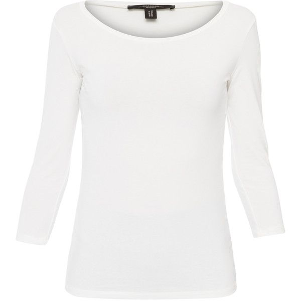 Weekend MaxMara Multic White Stretch T-shirt found on Polyvore featuring tops, t-shirts, white, white jersey, 3/4 sleeve scoop neck tee, 3/4 sleeve tops, white scoop neck tee and 3/4 sleeve t shirts