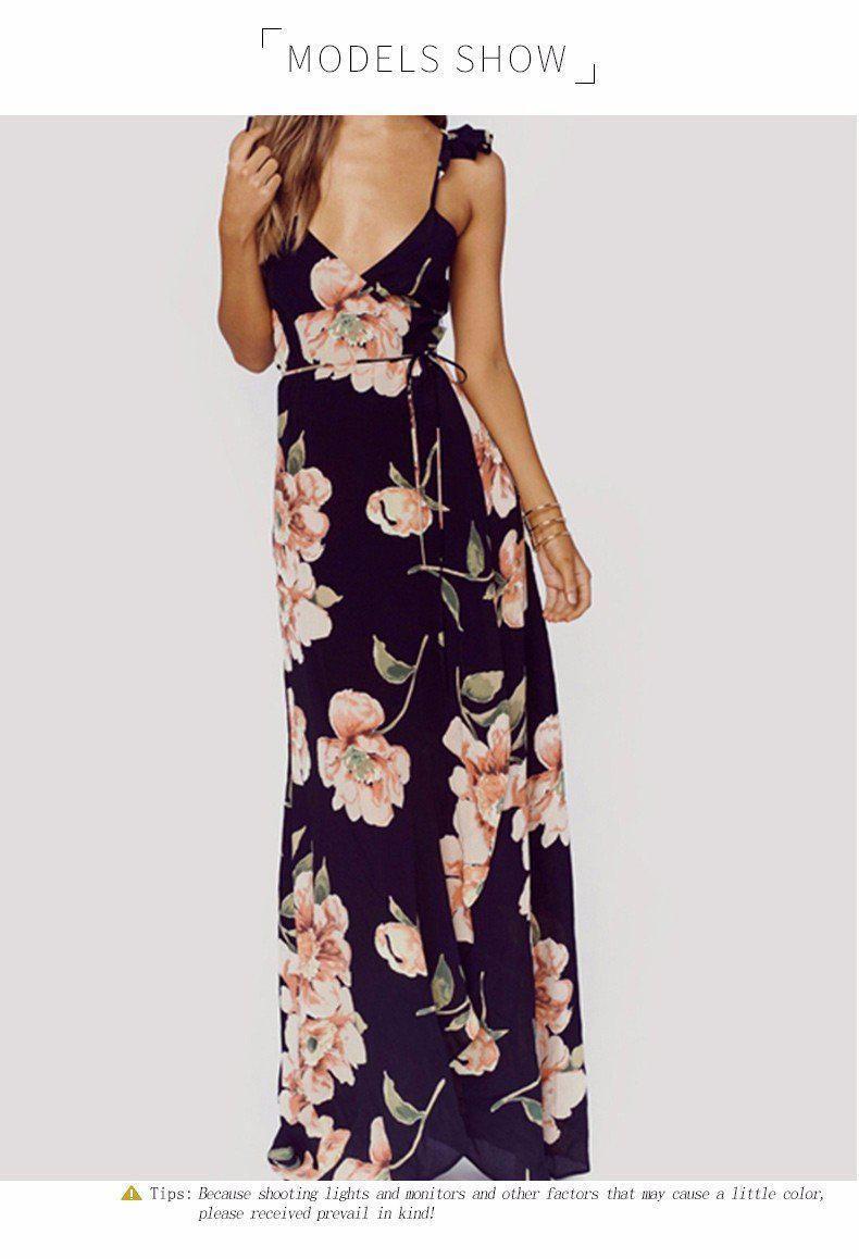 8c3881826a3 HDY Haoduoyi Fashion Floral Print Dress Women Backless Split Maxi Dres