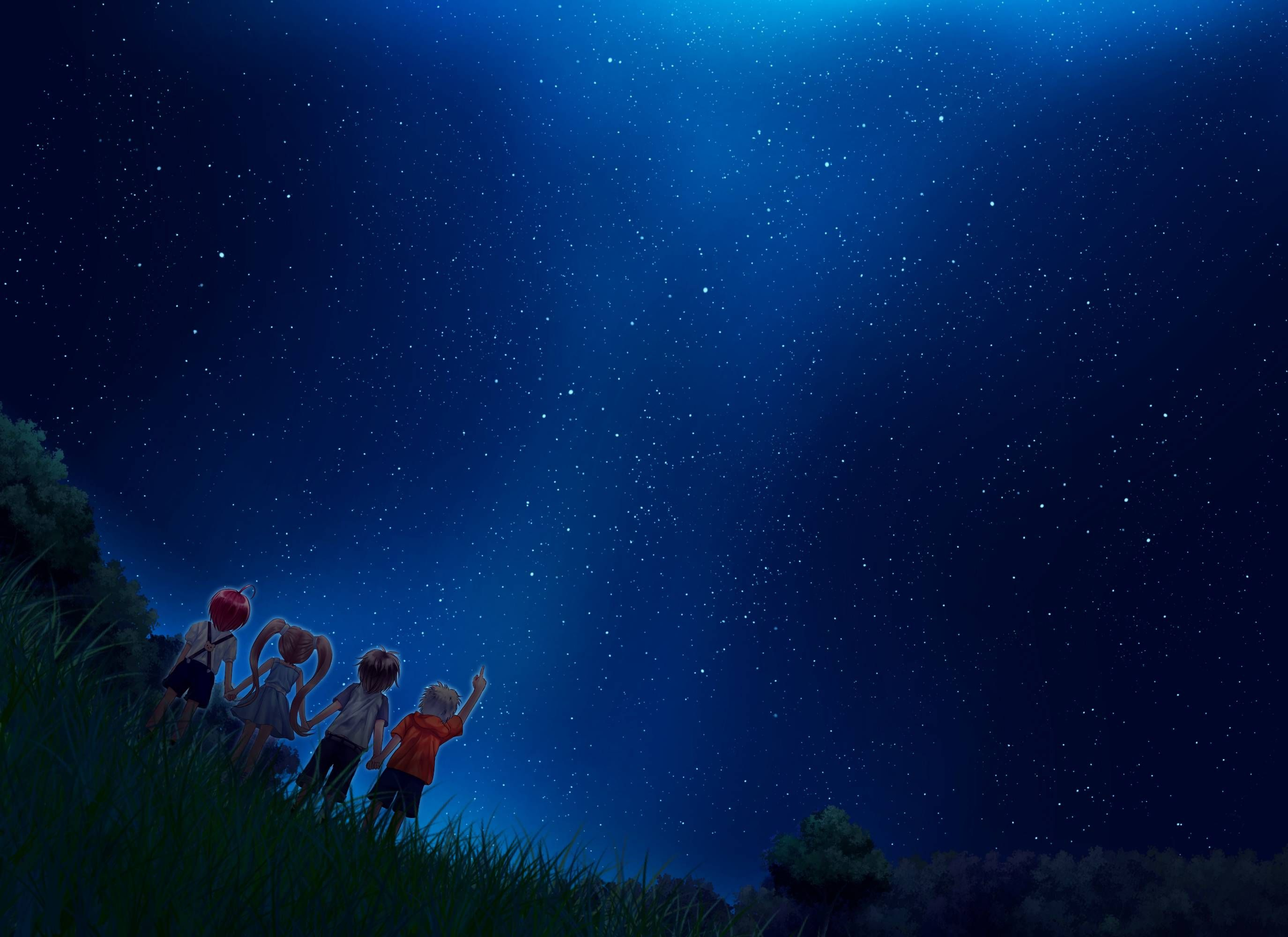 Anime Starry Night Sky Wallpaper For Android Monodomo