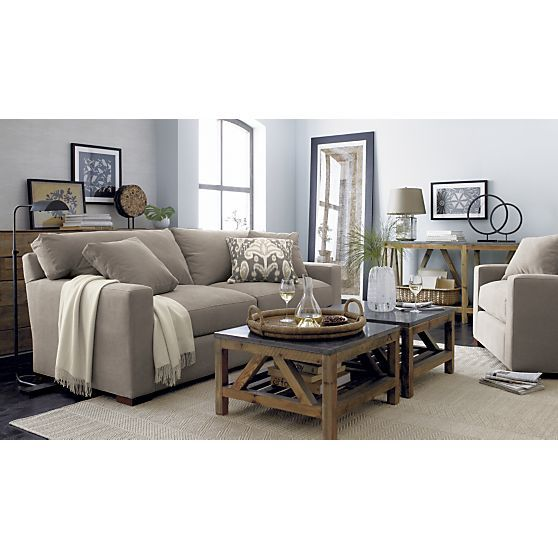 Two Square Coffee Tables Crate And Barrell Bluestone Coffee Table 500 Each Brown Living Room Decor Brown Living Room Coffee Table