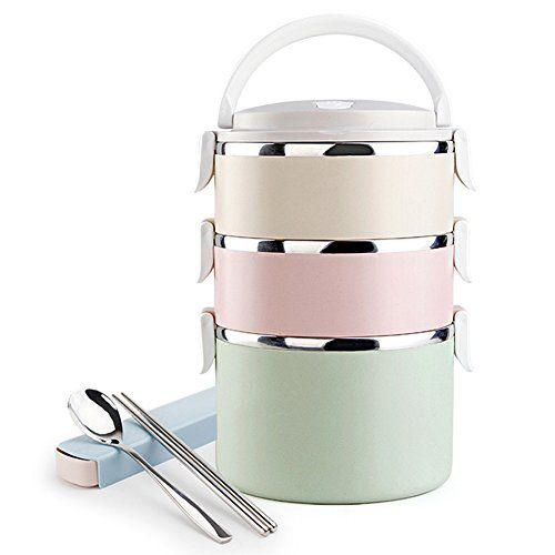 Insulated Bento Lunch Box Airtight School Days Stainless Steel for Kids 3 Colors