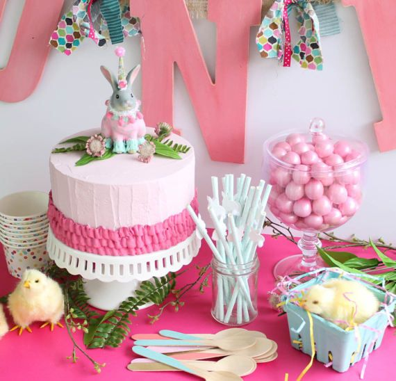 Easter party spring birthday party Chicken ad bunny decor 1st