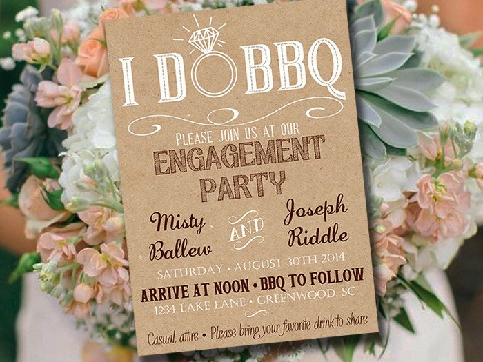 I DO BBQ Engagement Party Invitation Template