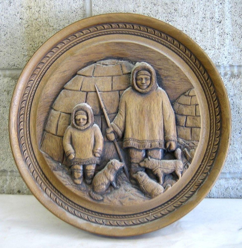 eskimo carved wood plaque igloo inuit dogs wolves vintage