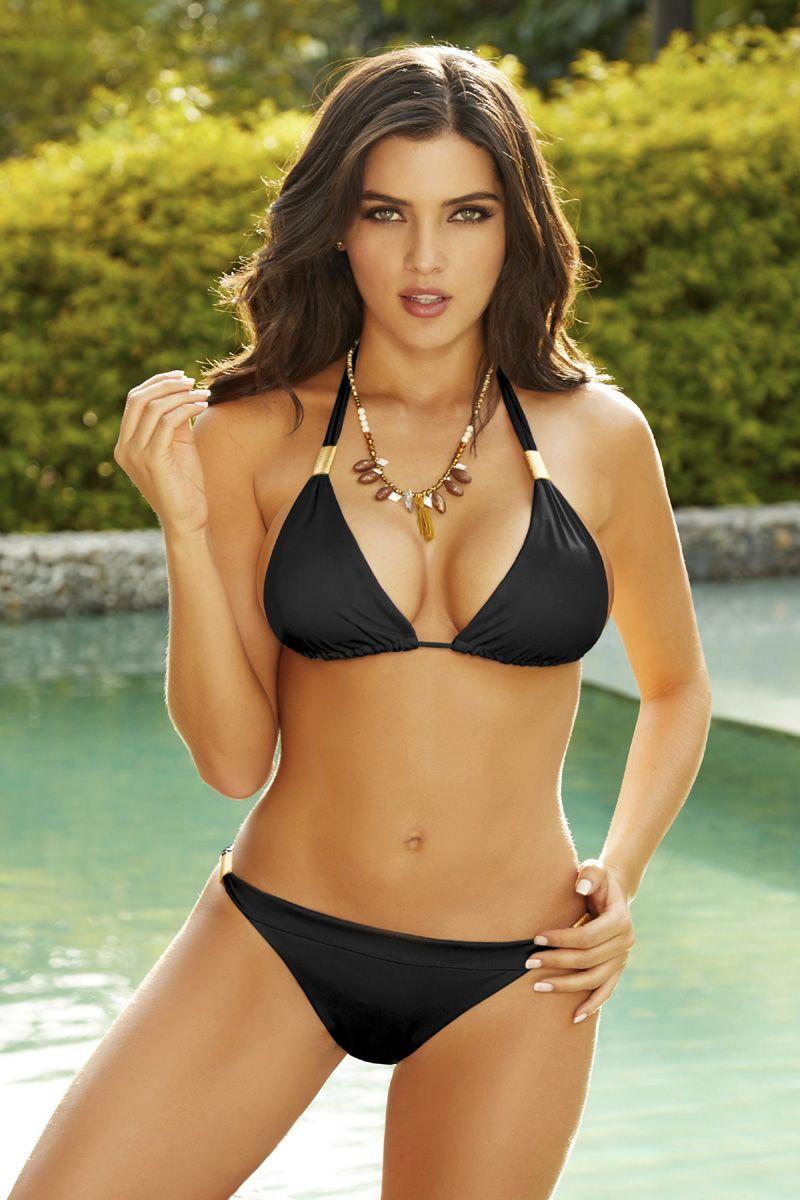 18255159f4 Black Triangle Padded Halter Bikini Top #swimwear #swimsuit #swimsuits  #bathingsuits #bikini #bikinis #blackbikini #bikiniblack #blackswimwear ...