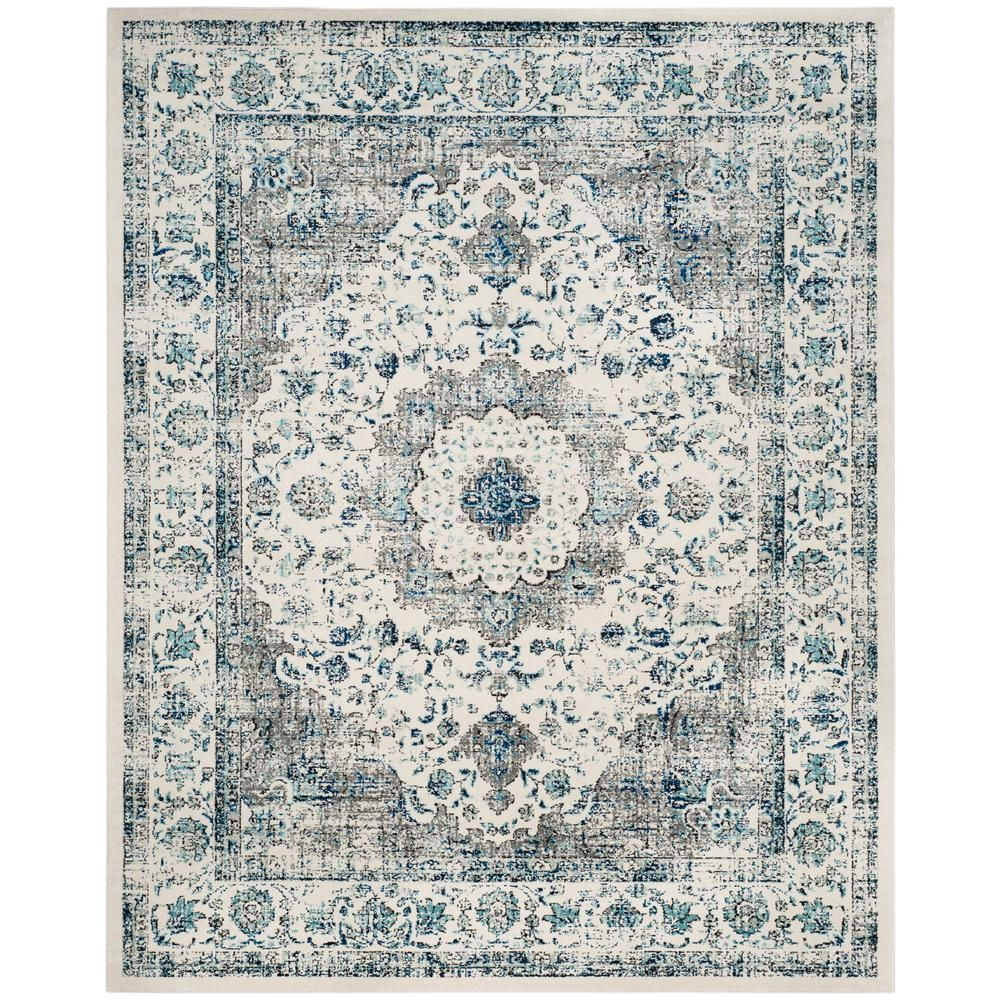 Safavieh Evoke Gray Ivory 9 Ft X 12 Ft Area Rug Evk220d 9 Vintage Area Rugs Blue Area Rugs Square Area Rugs