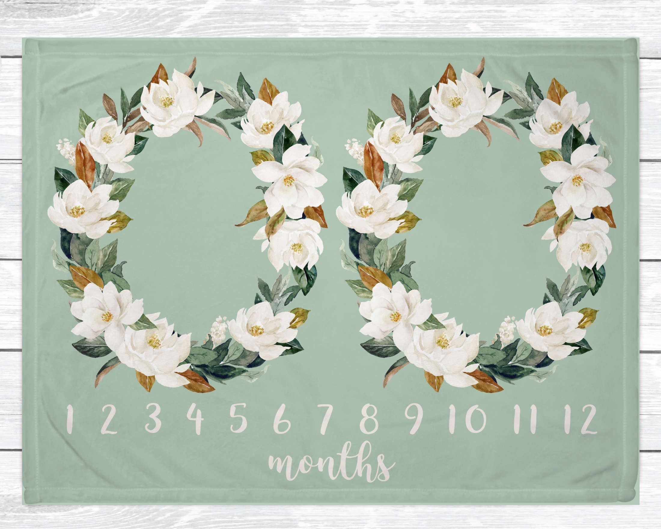 Twin Milestone Blanket Magnolia Flowers Blanket Gender Etsy In 2020 Baby Milestone Blanket Milestone Blanket Twin Baby Girls
