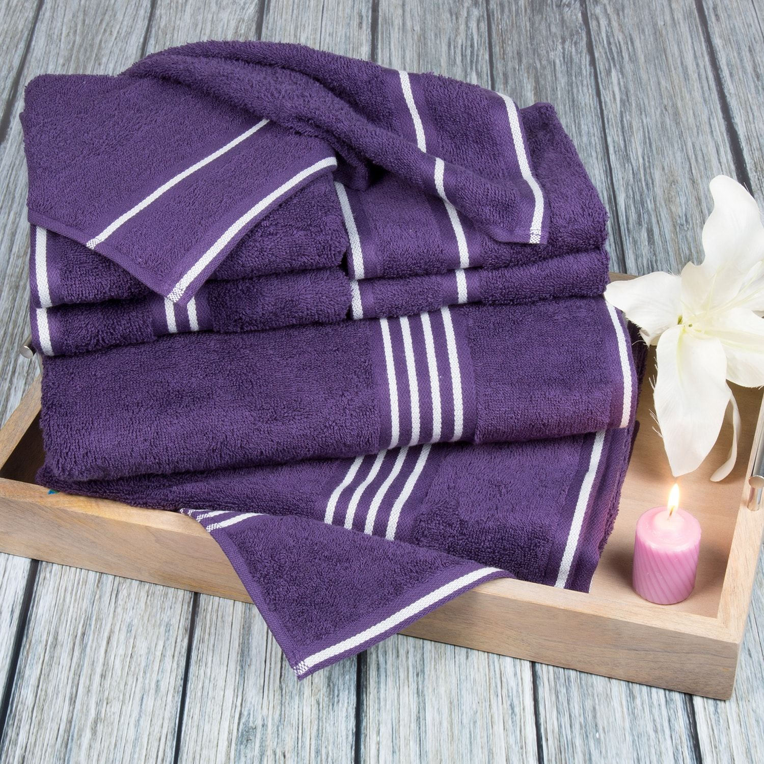 Rio Purple Bath Towel Set Of 8 Purple Bath Towels Egyptian