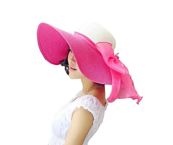 891f3e3c Kaisifei Bowknot Casual Straw Women Summer Hats Big Wide Brim Beach Hat  (Pink-2) at Amazon Women's Clothing store:
