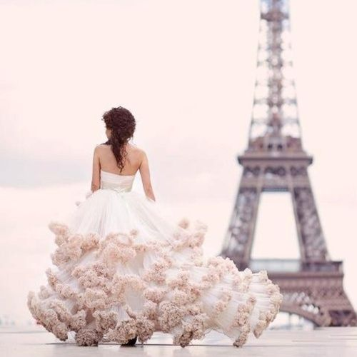 layered ruffled gown in paris