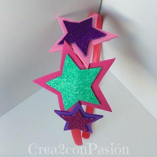 134eb9ef8d6 Diademas-corona-y-complementos-para-el-pelo-Crea2-con-Pasión-goma-eva- purpurina-detalle-de-estrellas