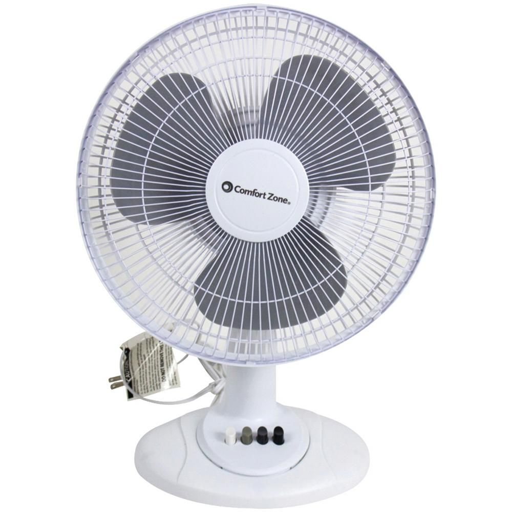 Comfort Zone 12 In White Oscillating Table Fan Comfort Zone