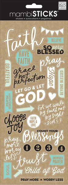 Each 5 x 12 clear sticker package contains sayings and icons that are perfect