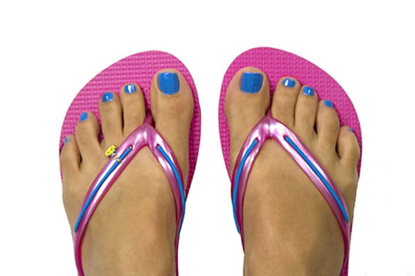 Pink MADiL sandals, bright blue bands, happy face charm.   www.mymadil.com