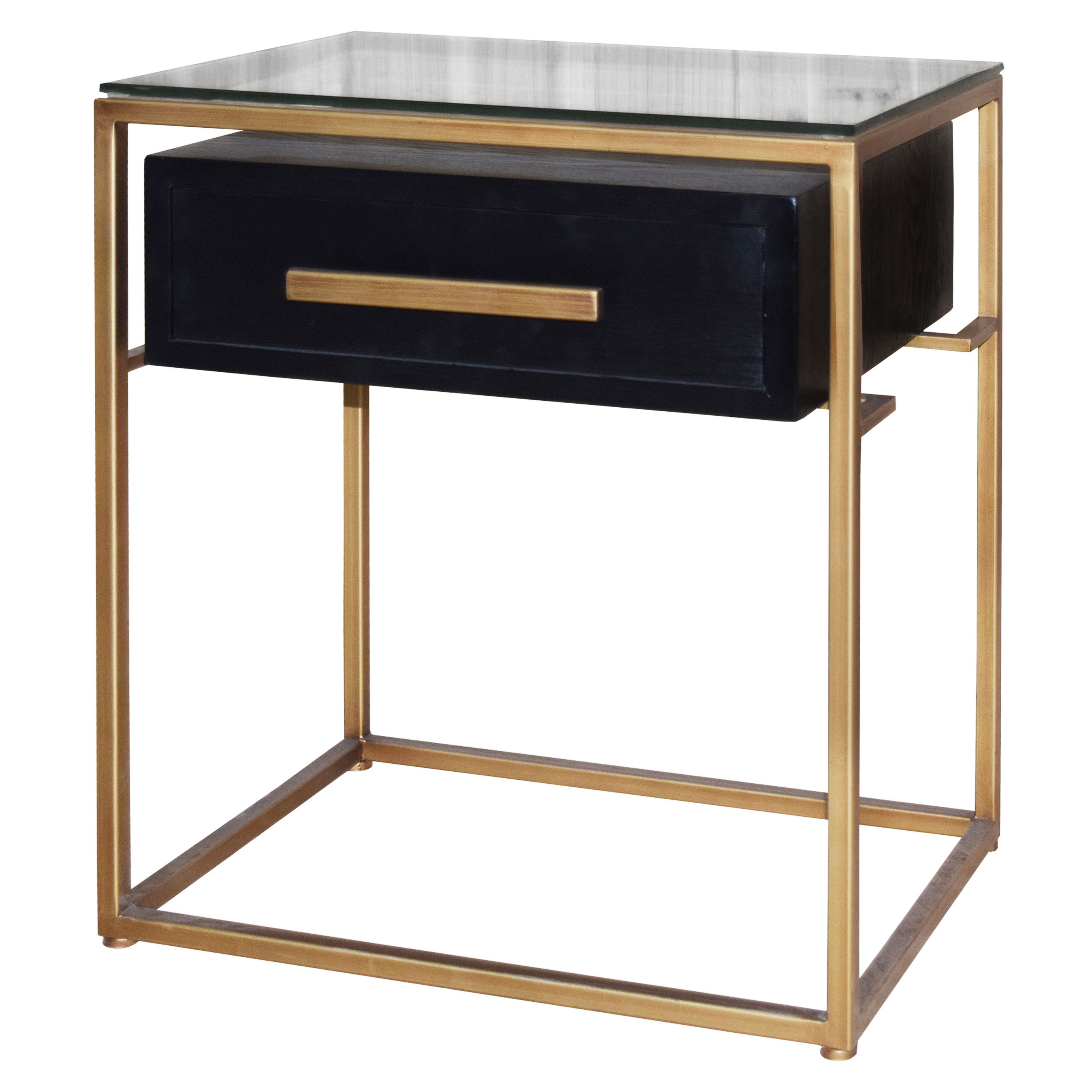 Firenze Floating End Table 1 Drawer Gold Frame In Espresso