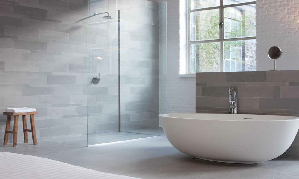 Best Light Grey Paint Color And White Bathroom Tile Ideas Blue Gray