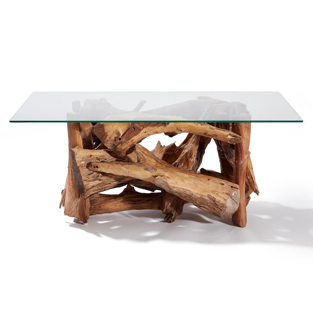 My Zen Home Natural Teak Driftwood Coffee Table Driftwood