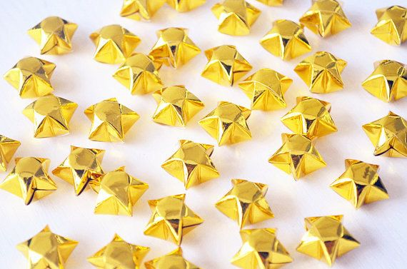 Big Size Sparkling Gold Origami Lucky Stars Metallic Gold Wishing