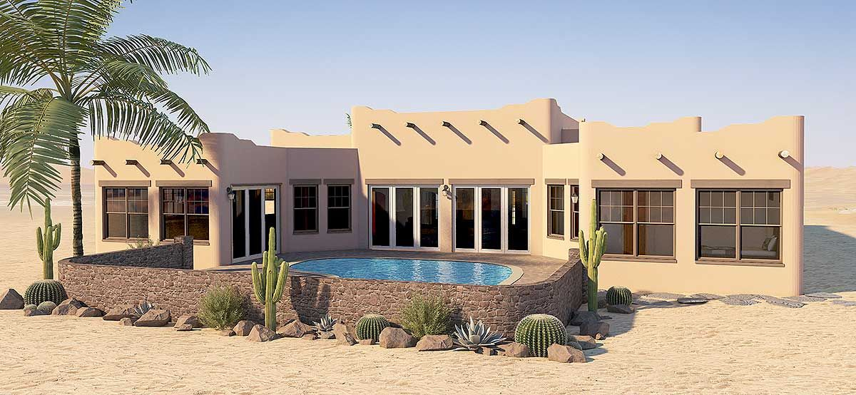 Plan 6793mg Adobe Style House Plan With Icf Walls Courtyard House Plans Icf Walls Adobe House