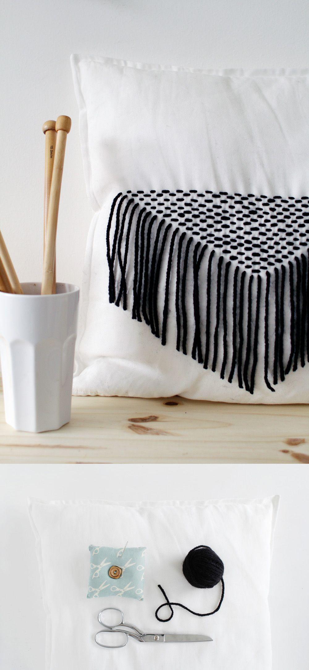 DIY Stitched Tassel Cushion  DIY  DIY Pillows Diy