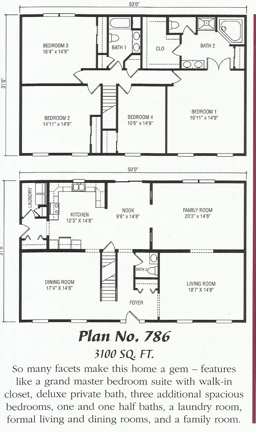 Two Story Slab On Grade House Plans Colonial House Plans Ranch House Plans Ranch House