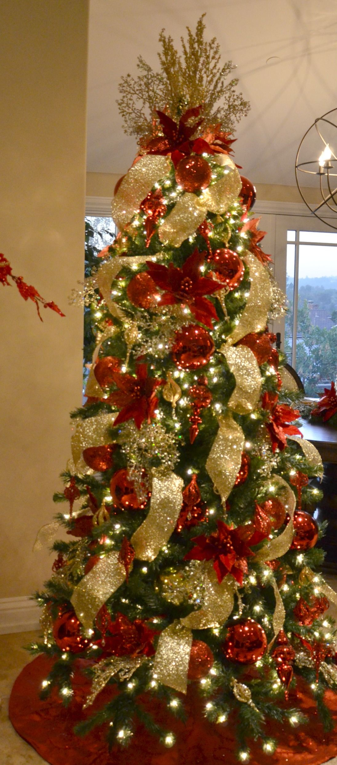 red and gold decorated christmas tree rental commercial christmas decorator christmas tree rentals christmas decoration rentals wreath rentals - Rent A Decorated Christmas Tree