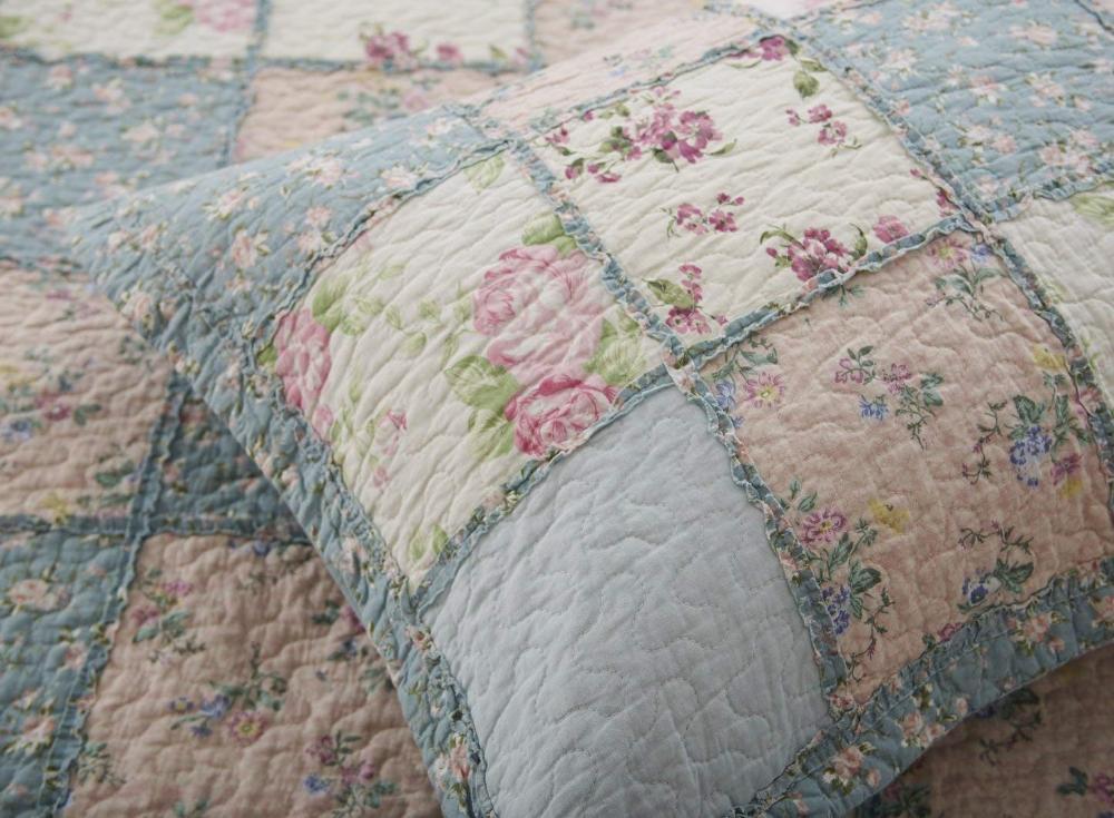 Chezmoi Collection 3pc Floral Reversible Patchwork 100/% Cotton Vintage Quilt Set