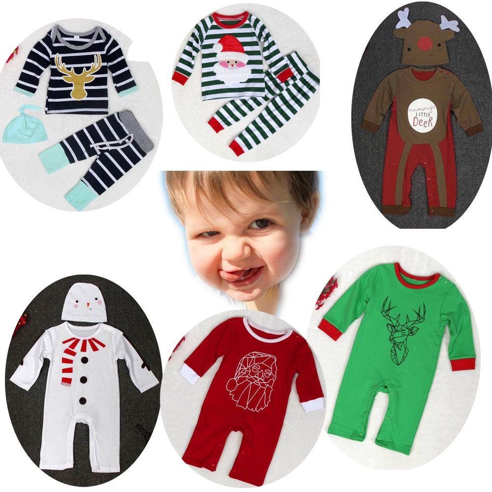 Kids Infant Baby Boys Girls Jumpsuit Cute Stripe Christmas Wapiti