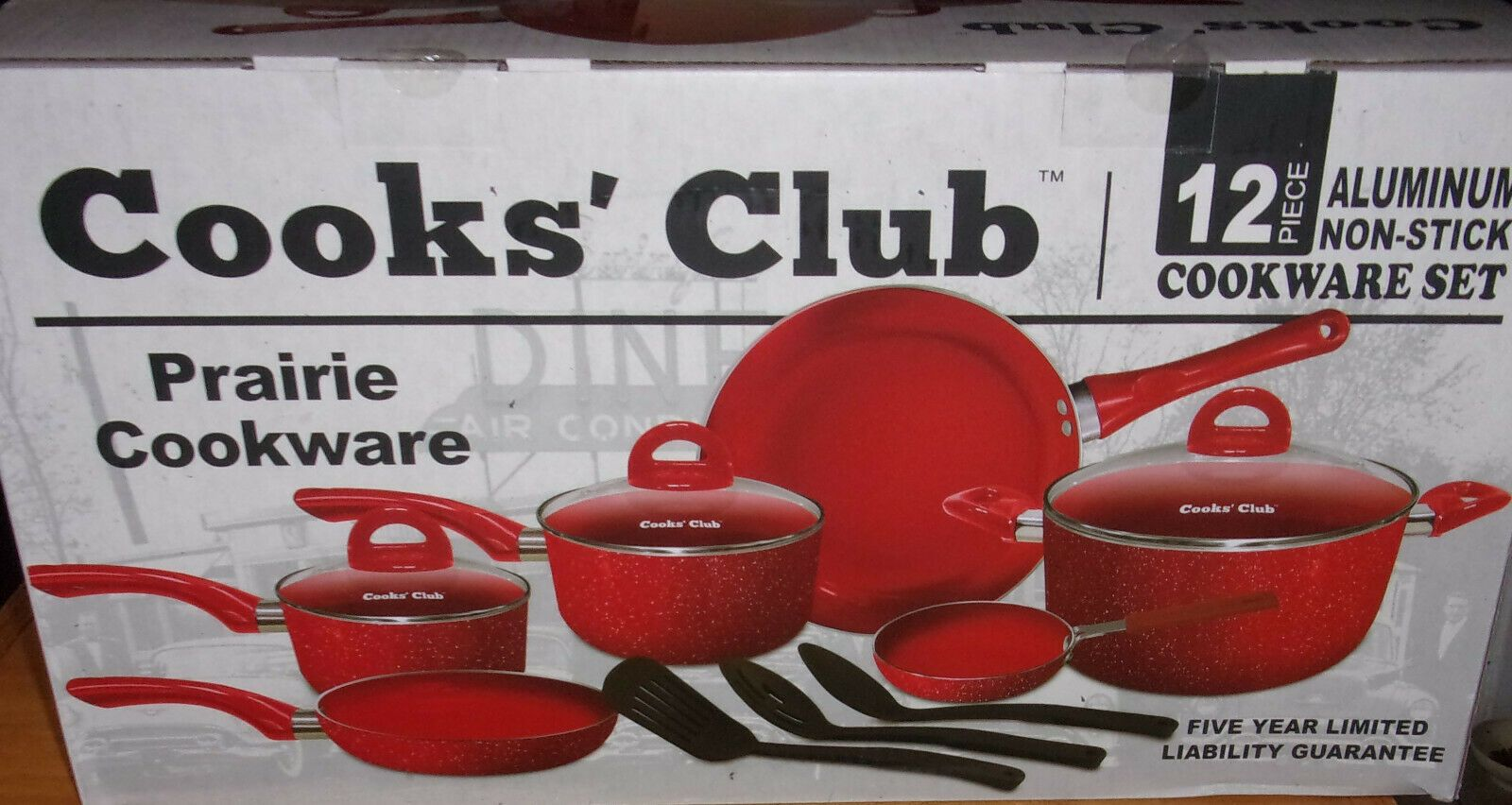 Details About 12pc Cookware Set Cooks Club Prairie Red Aluminum
