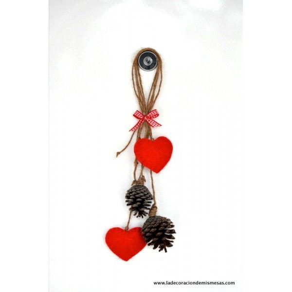 colgante de piñas y corazones rojos | Navidad | Pinterest ...