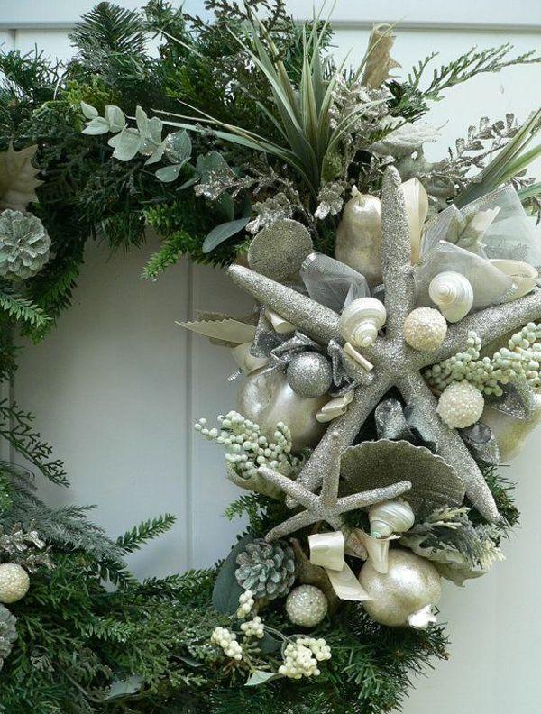 a christmas beachy wreath glittery for your parrothead christmas party - Beach Christmas Wreath