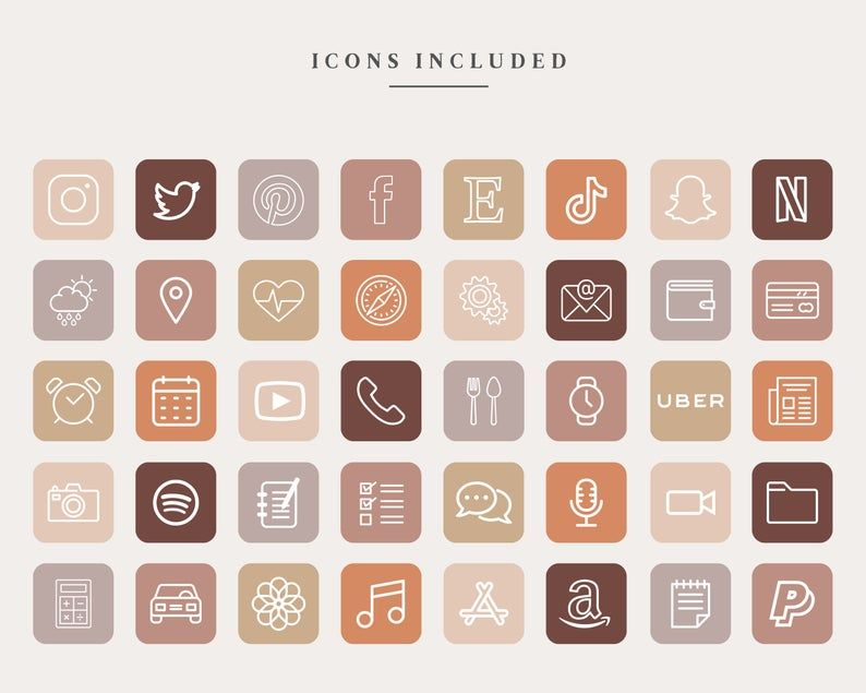 240 iOS 14 App Icons Pack - 40 Apps in 6 Colors, A