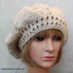 3767346f60096 Boina em Crochê com Passo a Passo Fácil - Katia Ribeiro Moda e Decoração  Handmade