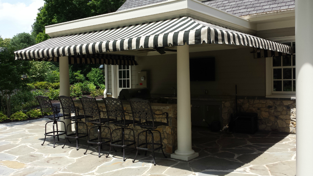 Striped Porch Awning With A Pleated Drop Curtain Kreider S Canvas Service Inc Porch Awning Pergola Outdoor Living Outdoor Blinds