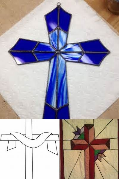 Stained Glass Cross with Dove Blue
