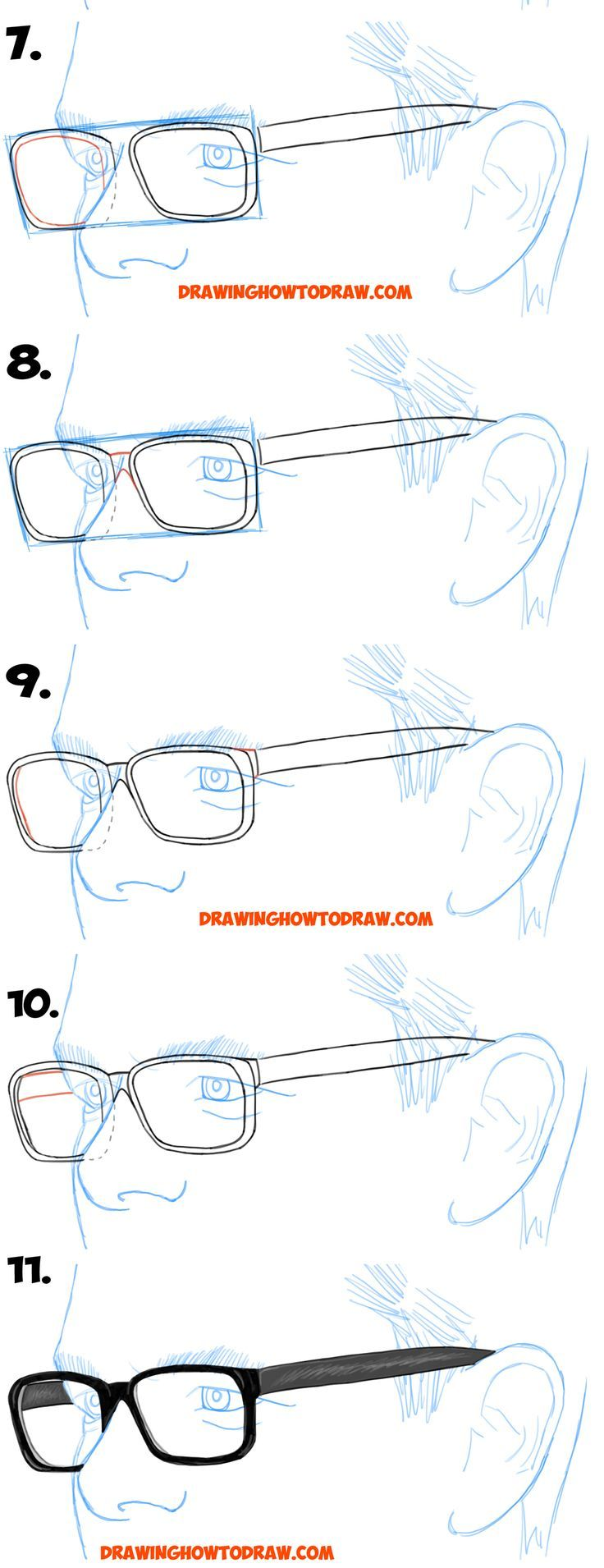 How To Draw Glasses On A Person S Face From All Angles Side Profile Front And Side Views Easy Step By Step Drawing Tutorials How To Draw Step By Step Draw