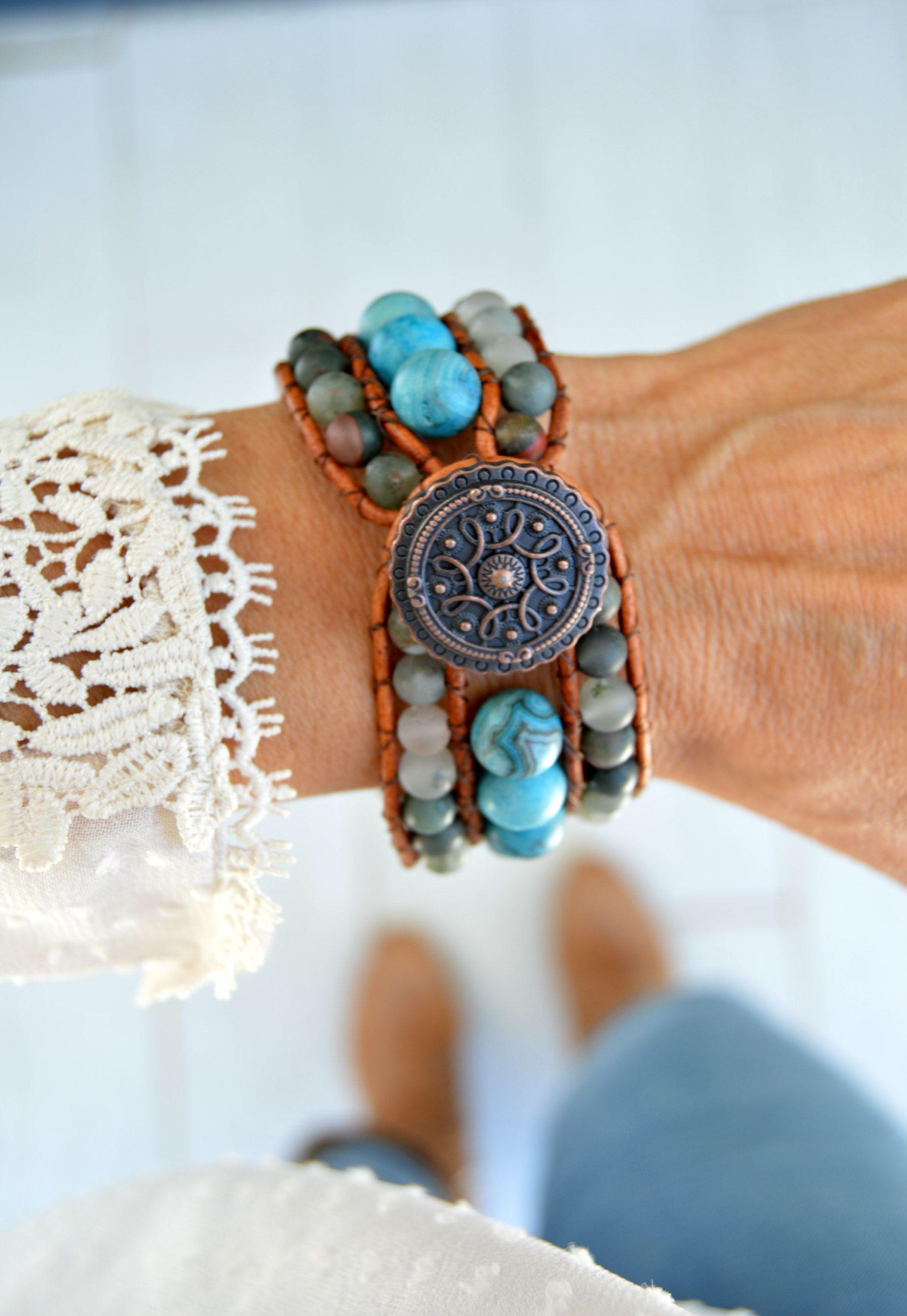 Blue agate bracelet for women beaded cuff bracelet