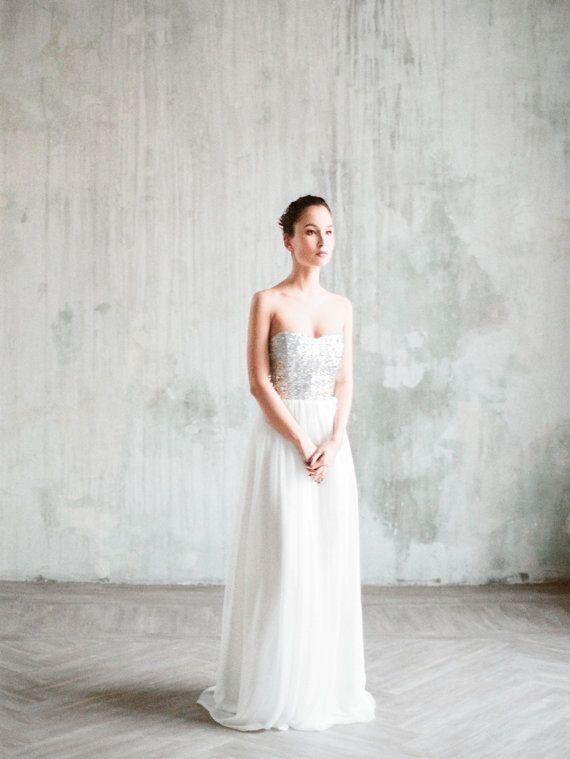 Zeya silver sequin wedding dress wedding gown by Milamirabridal ...