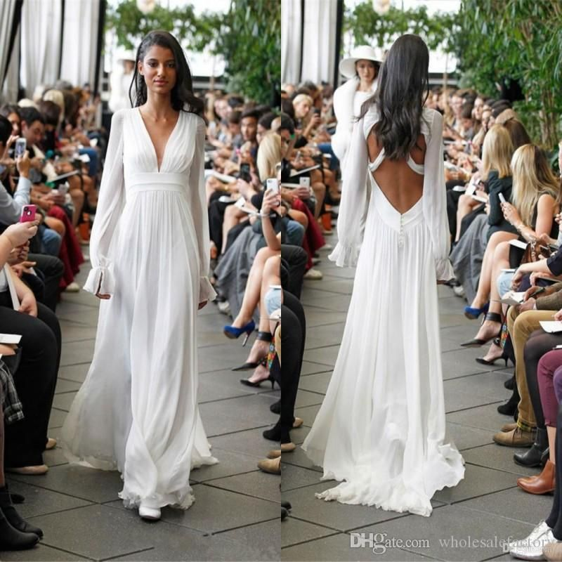 2017 New Designer Summer Simple Chiffon Wedding Dresses V Neck Y Backless Long Sleeves Loose Style