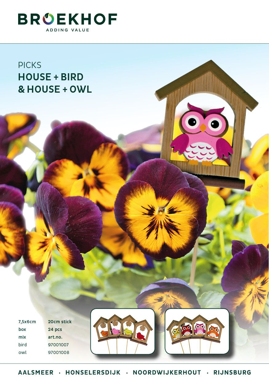 Pick House+Owl and House+Bird. New lovely picks at 20cm stick, available in 4 colours. #picks #Broekhof #florist #flowers