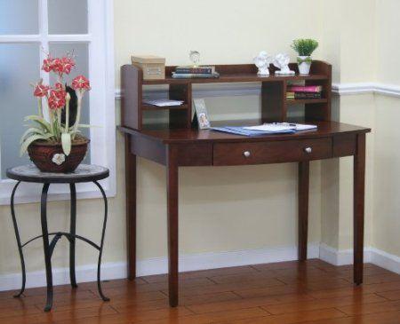 dark walnut finish home office writing secretary desk hutch rh pinterest com