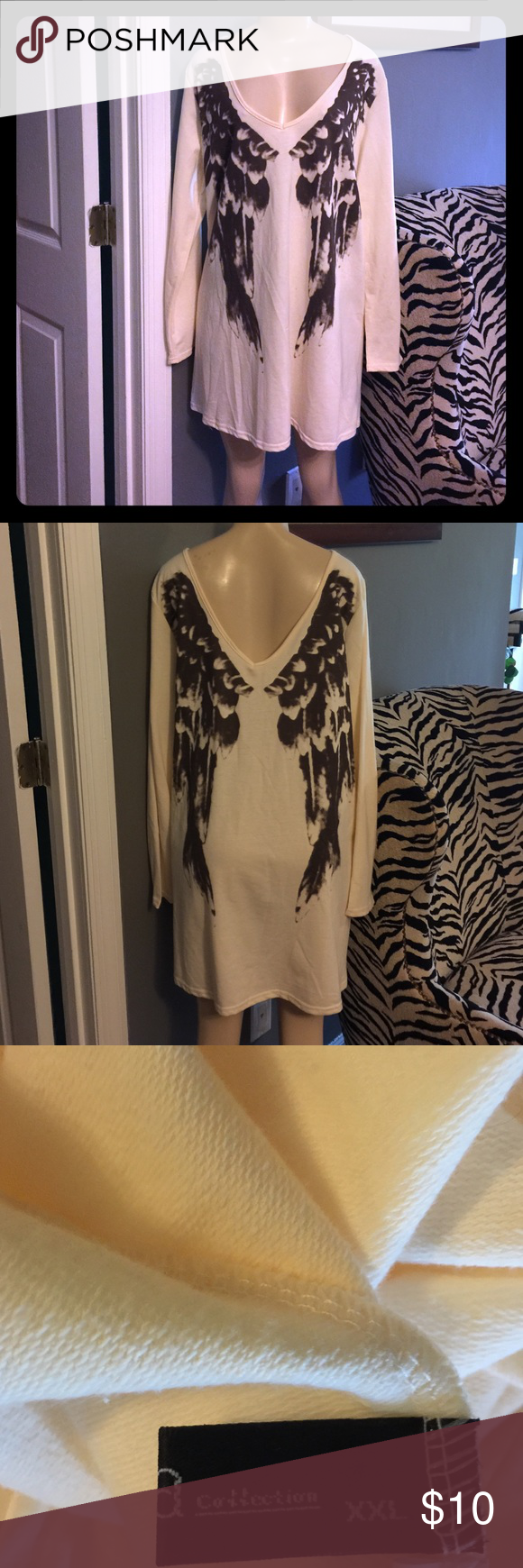 A Collection boutique SYLE mini dress Size XXL Angel Winged detail printed V neck (back&Front) mini dress size XXLTrue To Size it's very big but super cute! ACollection Dresses Mini