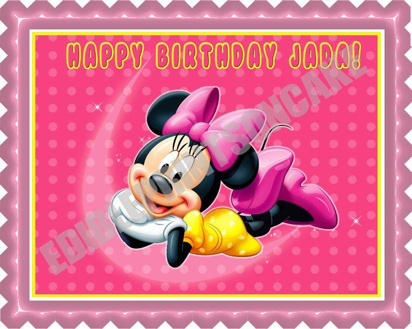 Minnie Mouse Edible Birthday Cake Topper OR Cupcake Decor