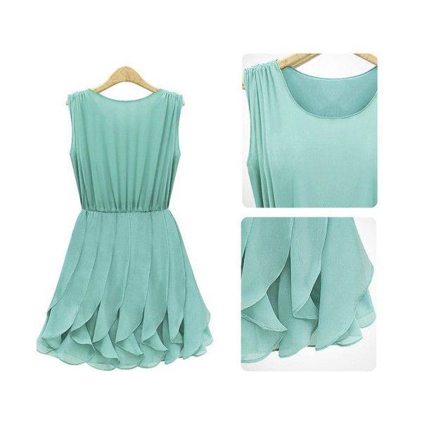 Women Elegant Mint Green Ruffle Sleeveless Chiffon Dress