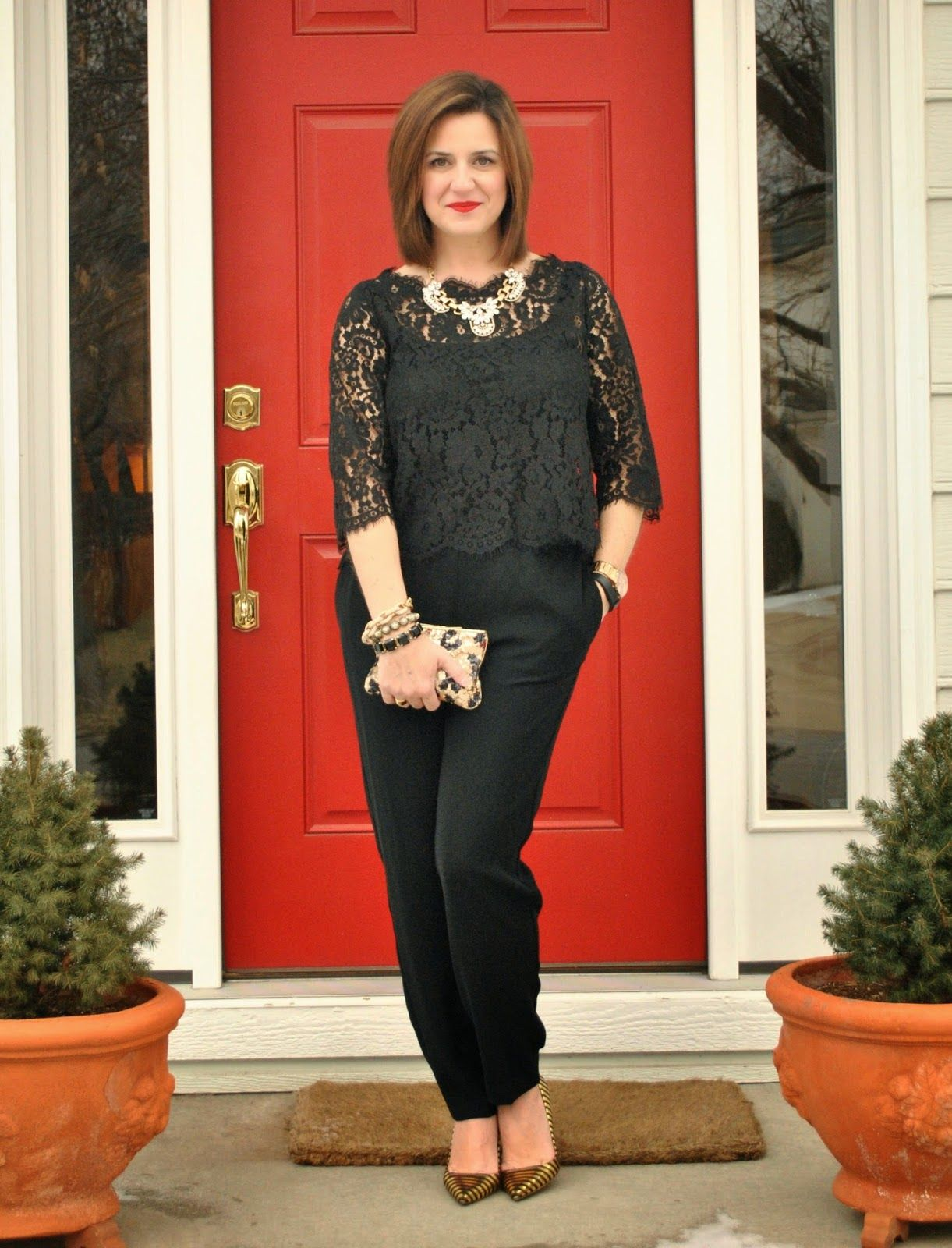 Black Lace Top Black Pants Statement Heels And Sequined