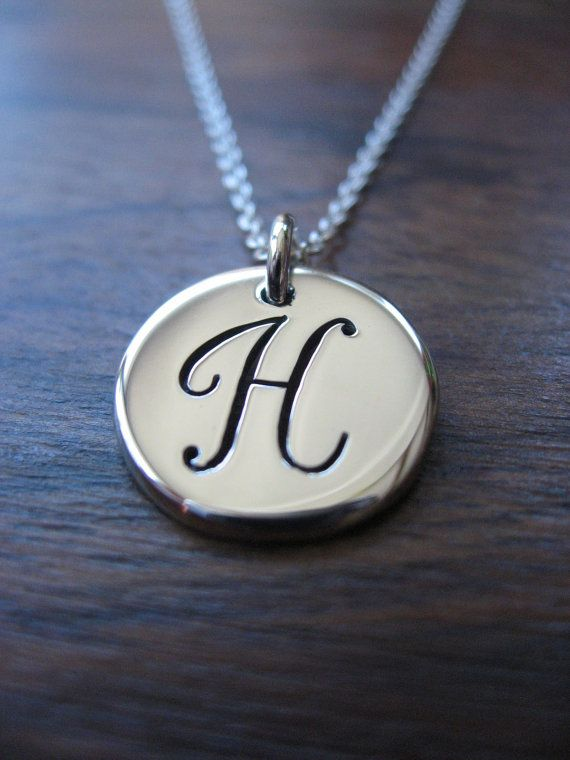 Initial H Silver Necklace - Handmade Silver Initial Charm - Silver ...