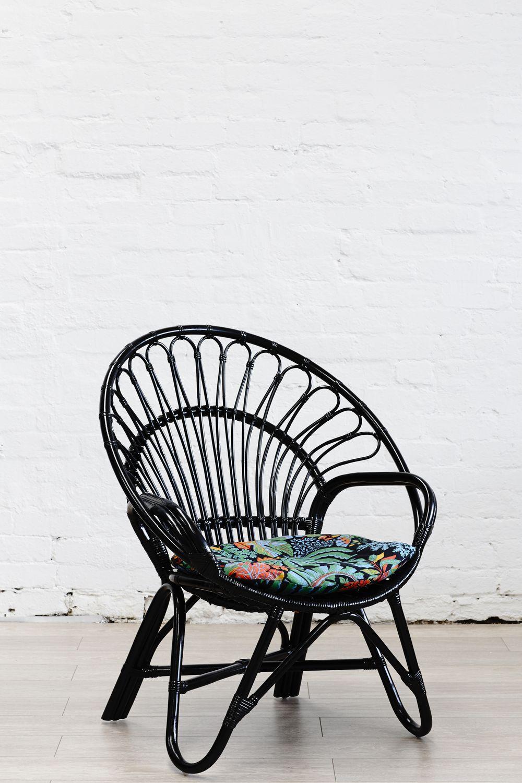 Rattan Round Chair Black