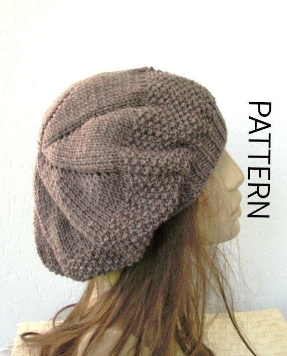 Knitting hat pattern- Hat Digital Knitting PATTERN PDF - Instant Download  Seed Stitche Beret Pattern 0c7821d4e20