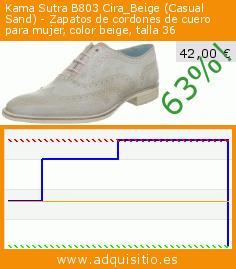 Kama Sutra B803 Cira_Beige (Casual Sand) - Zapatos de cordones de cuero para mujer, color beige, talla 36