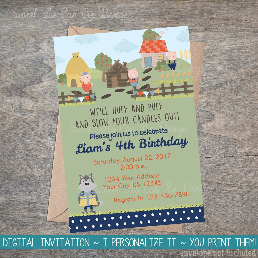 Three Little Pigs Invitation Farm Storybook 3 Big Bad Wolf Piggy